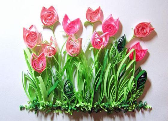 тюльпаны техникой квилинг